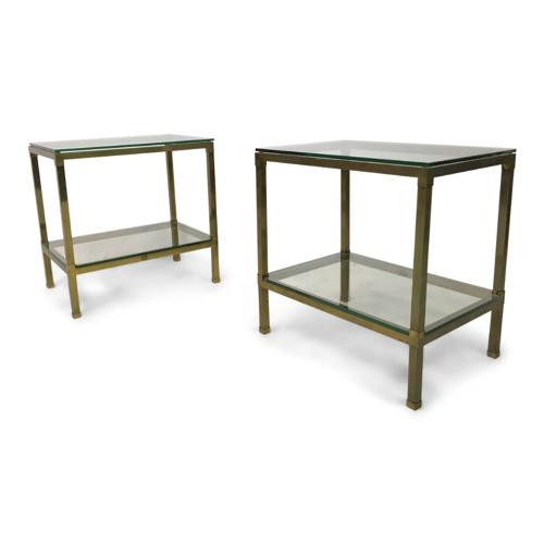 A pair of brass side tables plus one other
