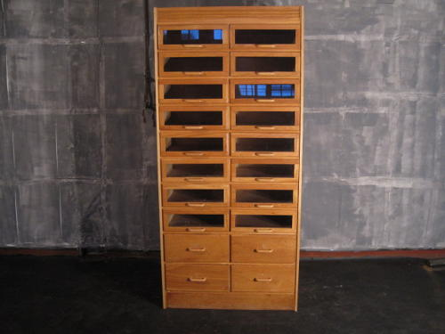 Oak haberdashery cabinet
