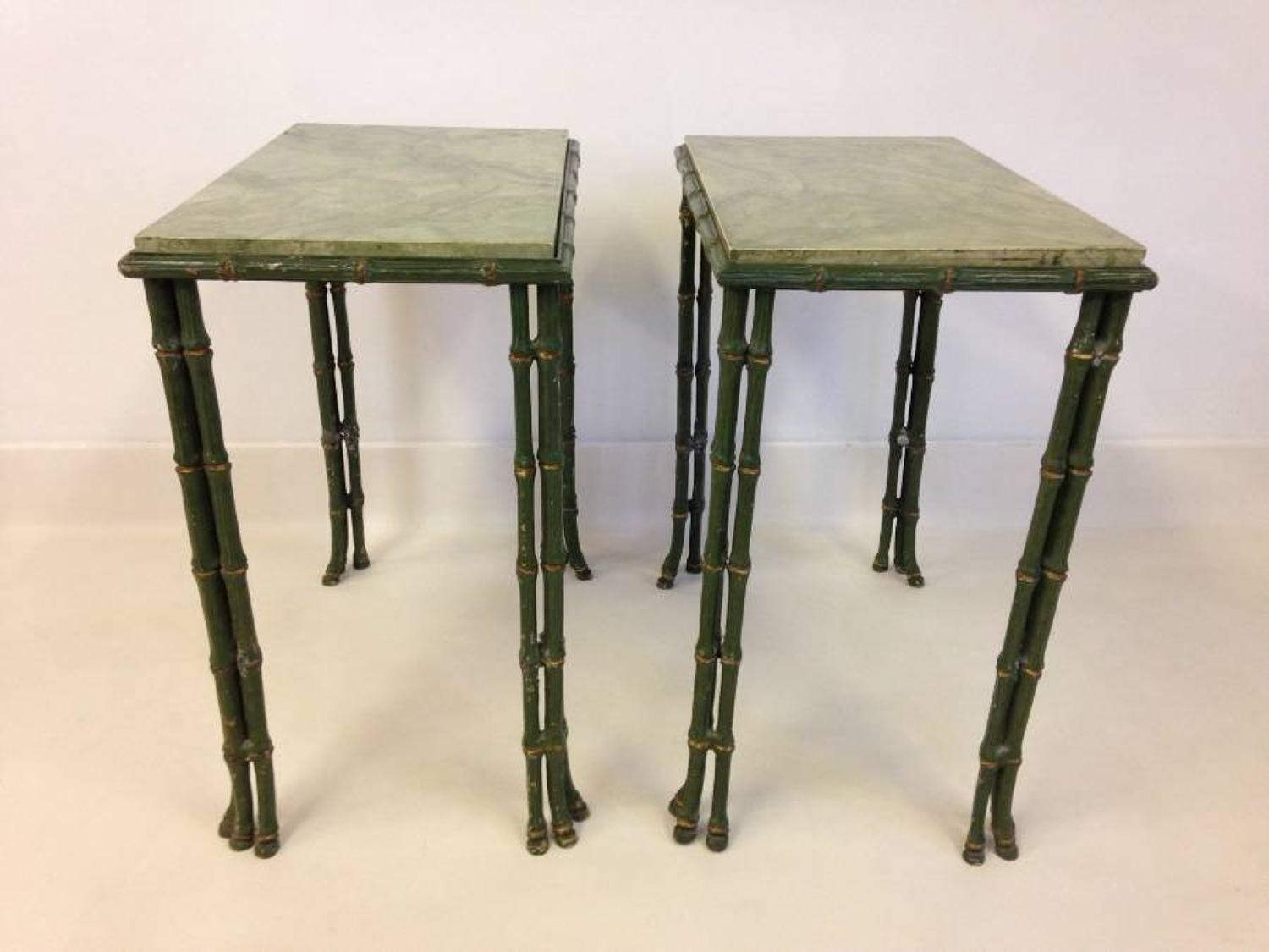A pair of iron faux bamboo tables