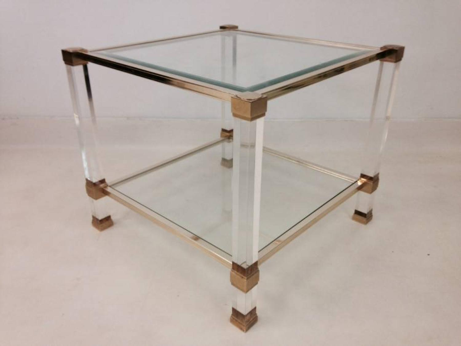 Lucite and brass side table by Pierre Vandel