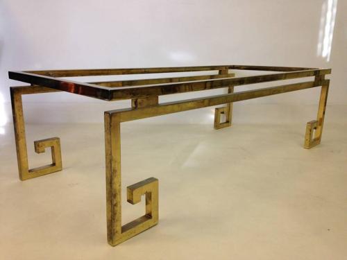 Brass greek key coffee table