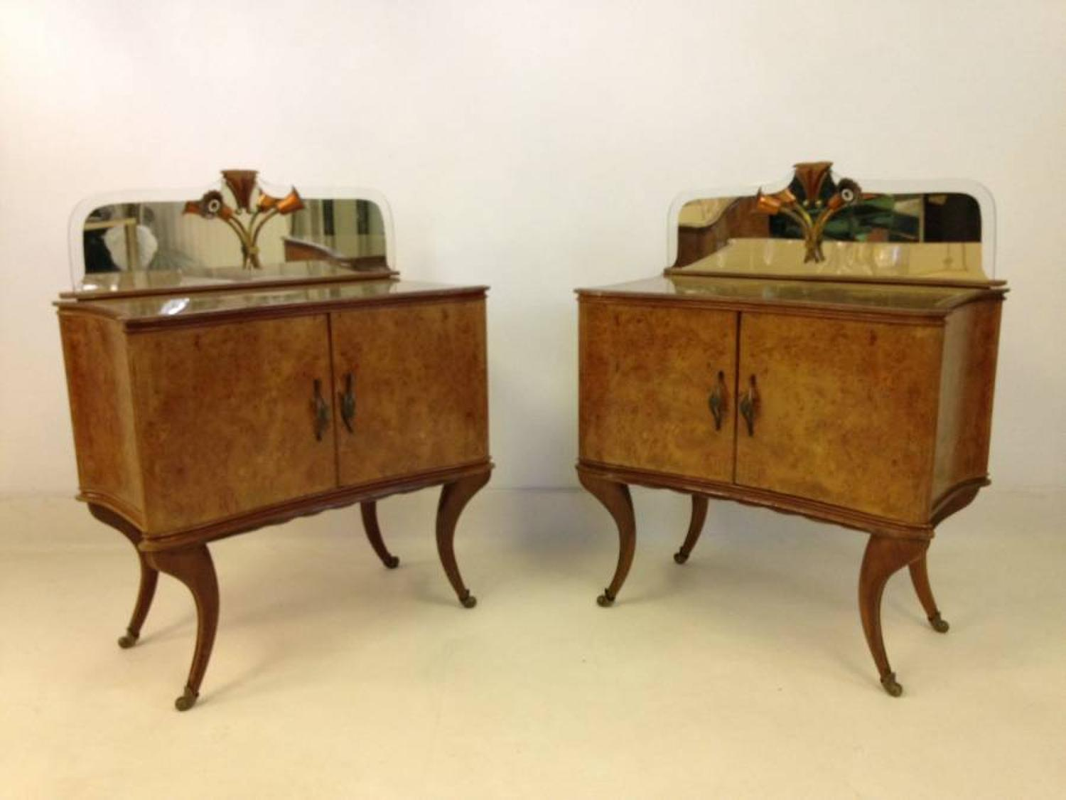 A pair of Italian bedside cabinets