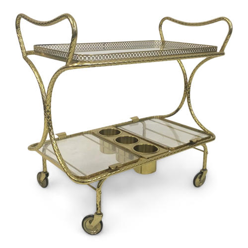 1970s Italian brass cocktail or drinks trolley