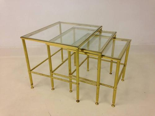 A brass  nest of tables