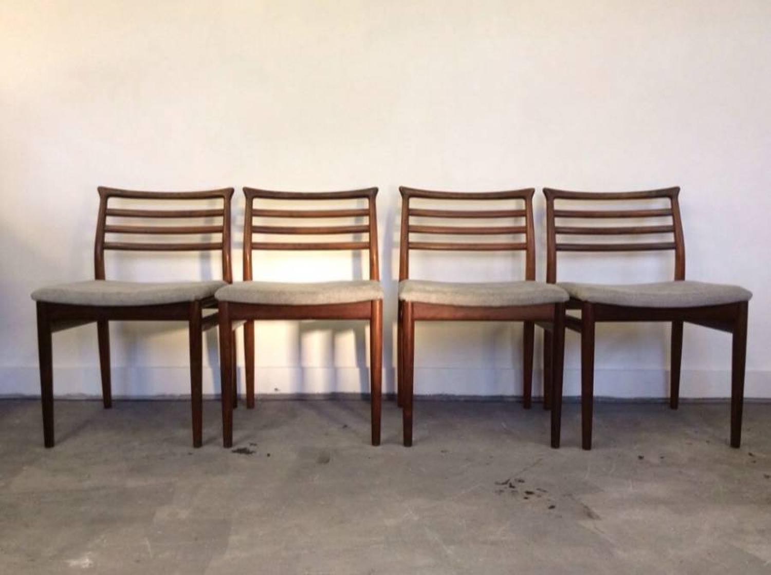 A set of four Danish rosewood dining chairs