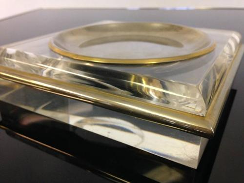 Lucite and brass dishes