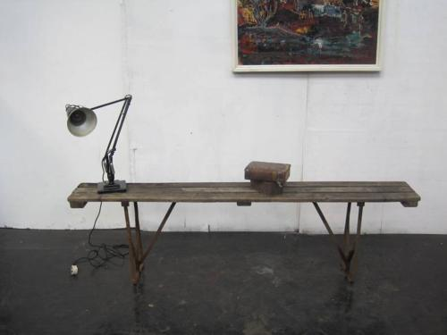 Vintage folding wood and iron bench