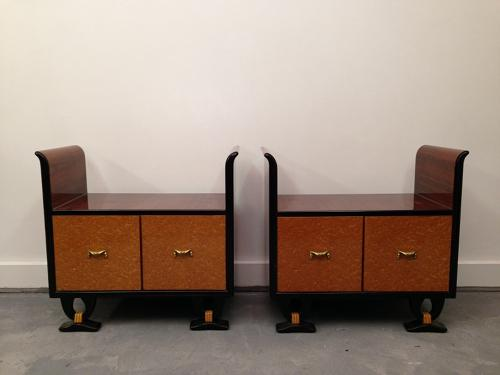 Italian rosewood and maple bedside cabinets