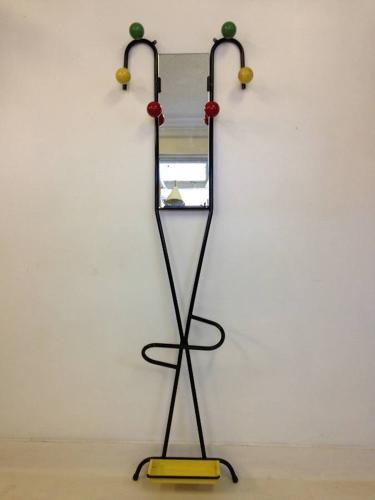French steel and coloured ball coatstand