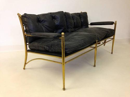 Brass framed and leather sofa