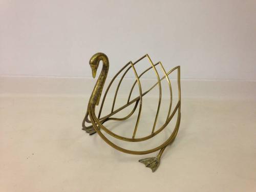 Brass swan magazine rack