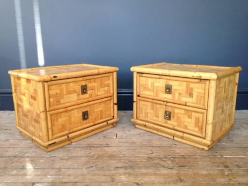 A pair of bamboo and brass bedside tables