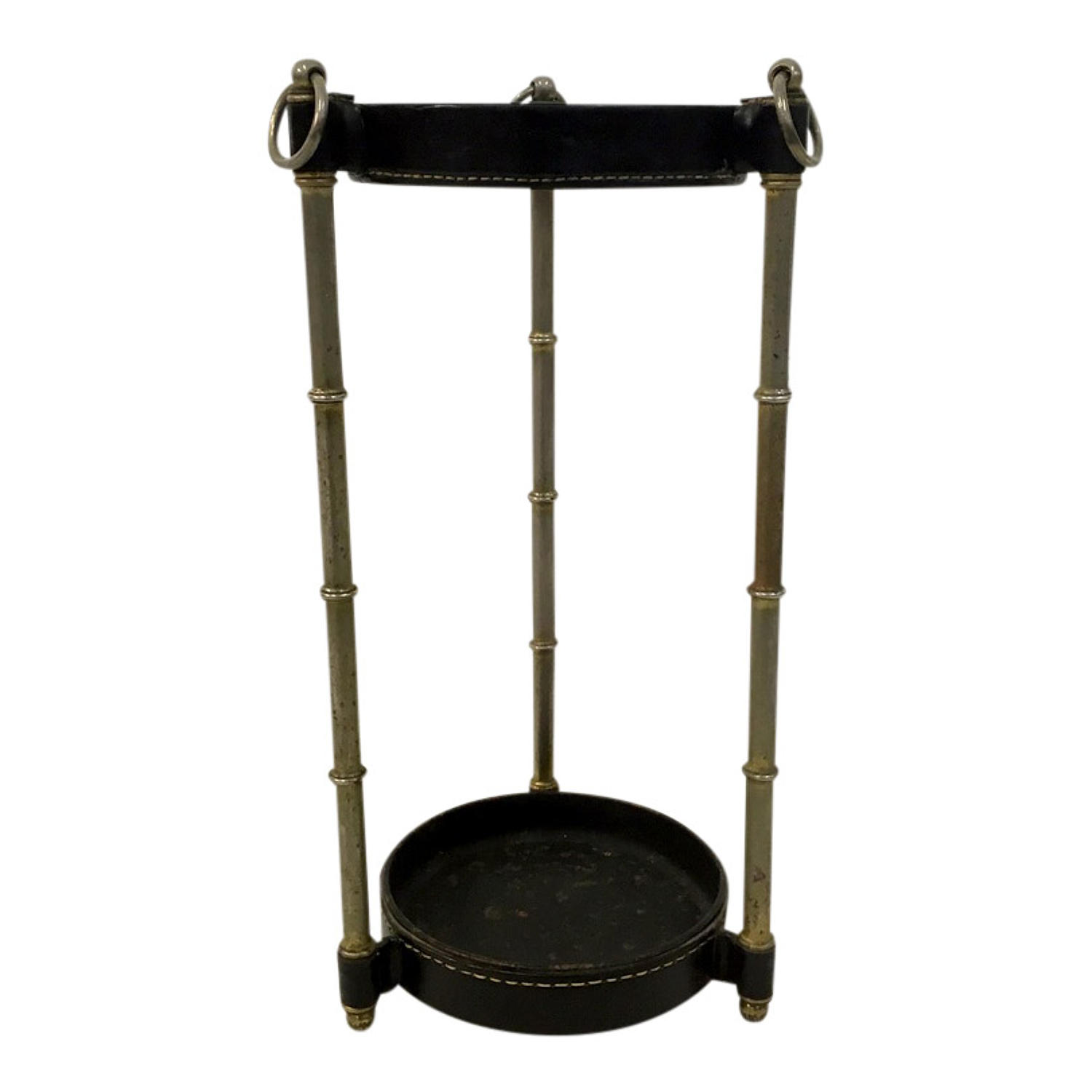 Leather and metal umbrella stand by Jacques Adnet