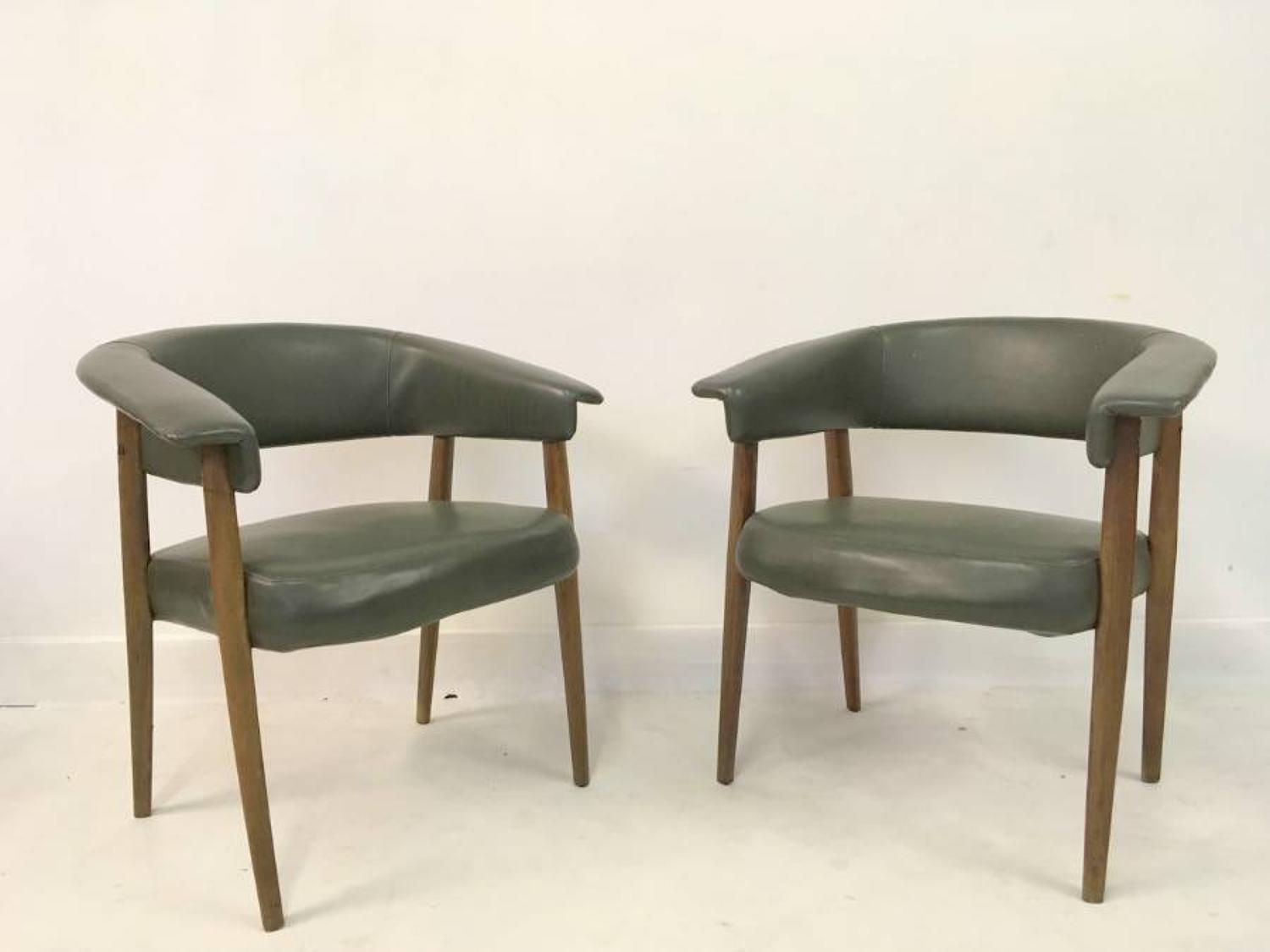 A pair of 1960s Italian armchairs or deskchairs