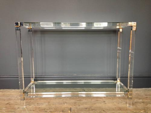 Lucite, chrome and brass console table