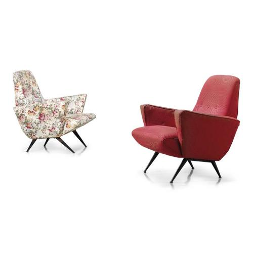 A pair of 1950s Italian angular armchairs