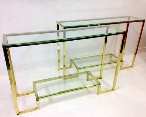 A pair of Italian brass console tables