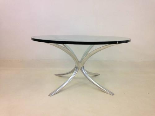 Cast aluminium and glass coffee table