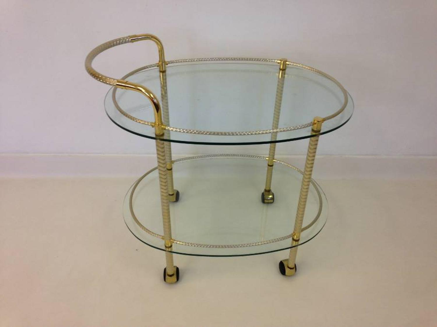 Brass and gold plate cocktail trolley