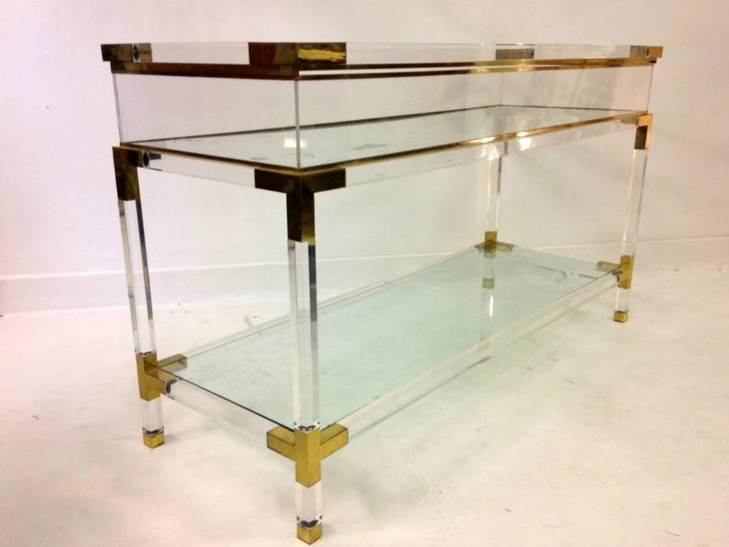 Lucite and brass vitrine console table