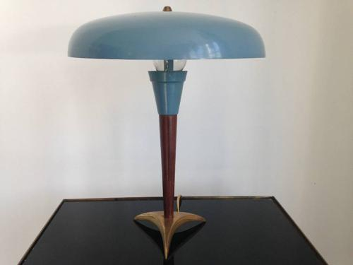 1950s brass and wood lamp with metal shade