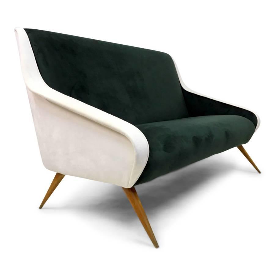 1950s Italian green and white velvet sofa