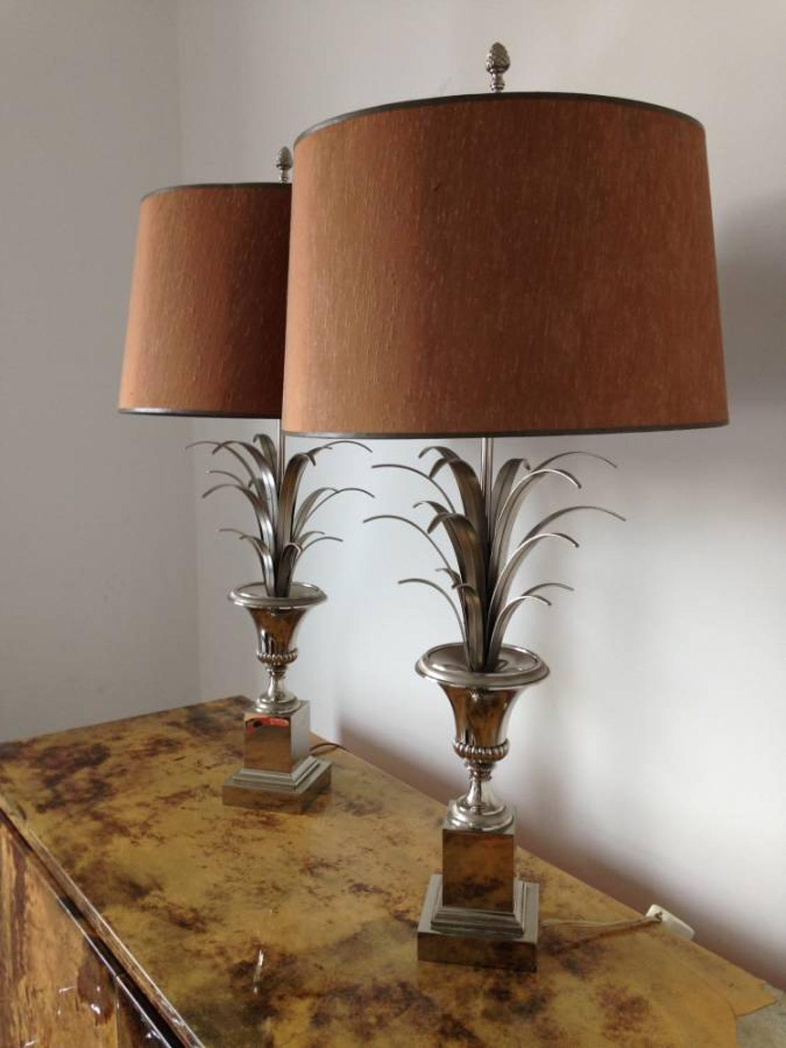 A pair of urn and frond lamps after Maison Charles