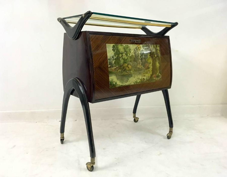 Italian rosewood bar cabinet on castors