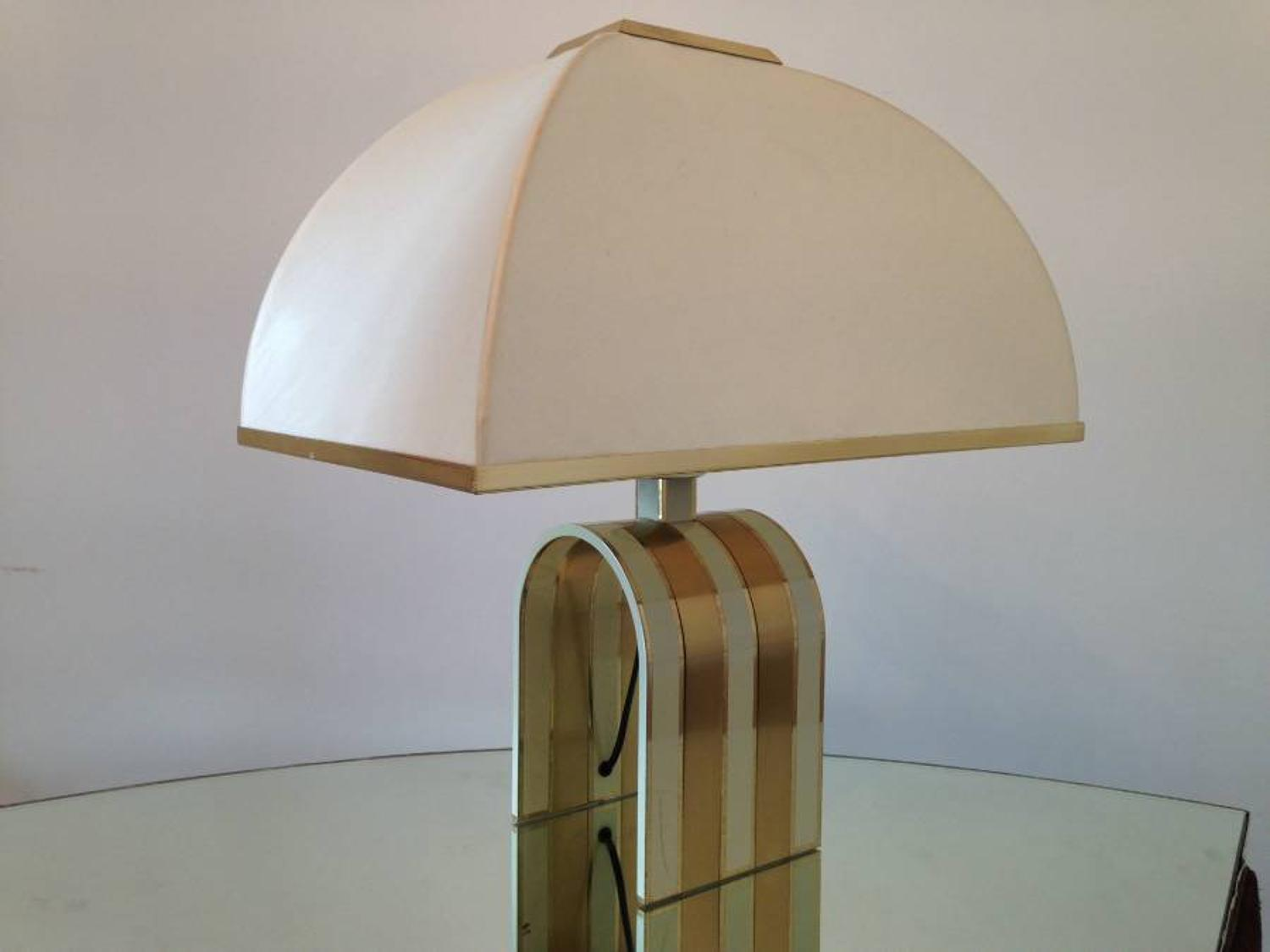 1970s brass and white table lamp