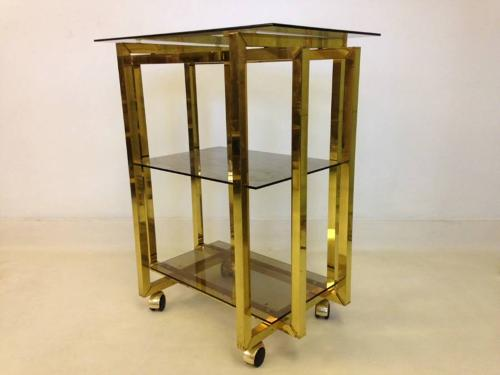 Gold lacquered metal side table or trolley