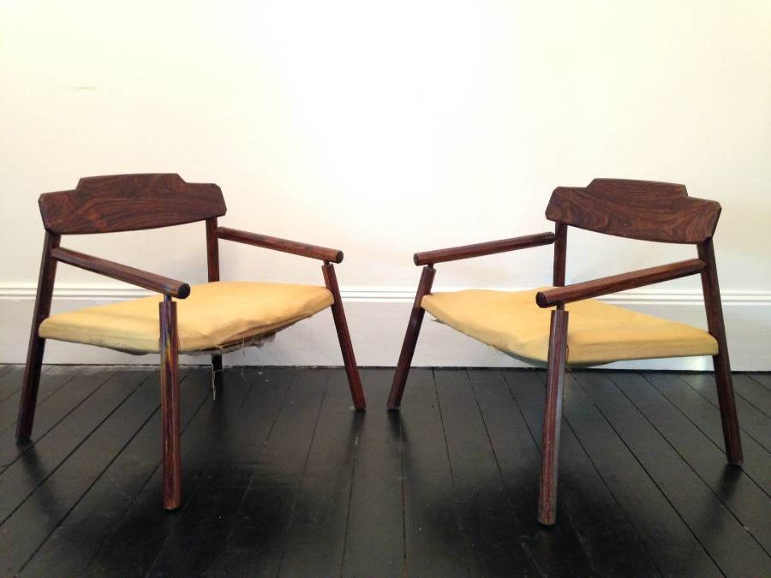 A pair of Italian rosewood armchairs