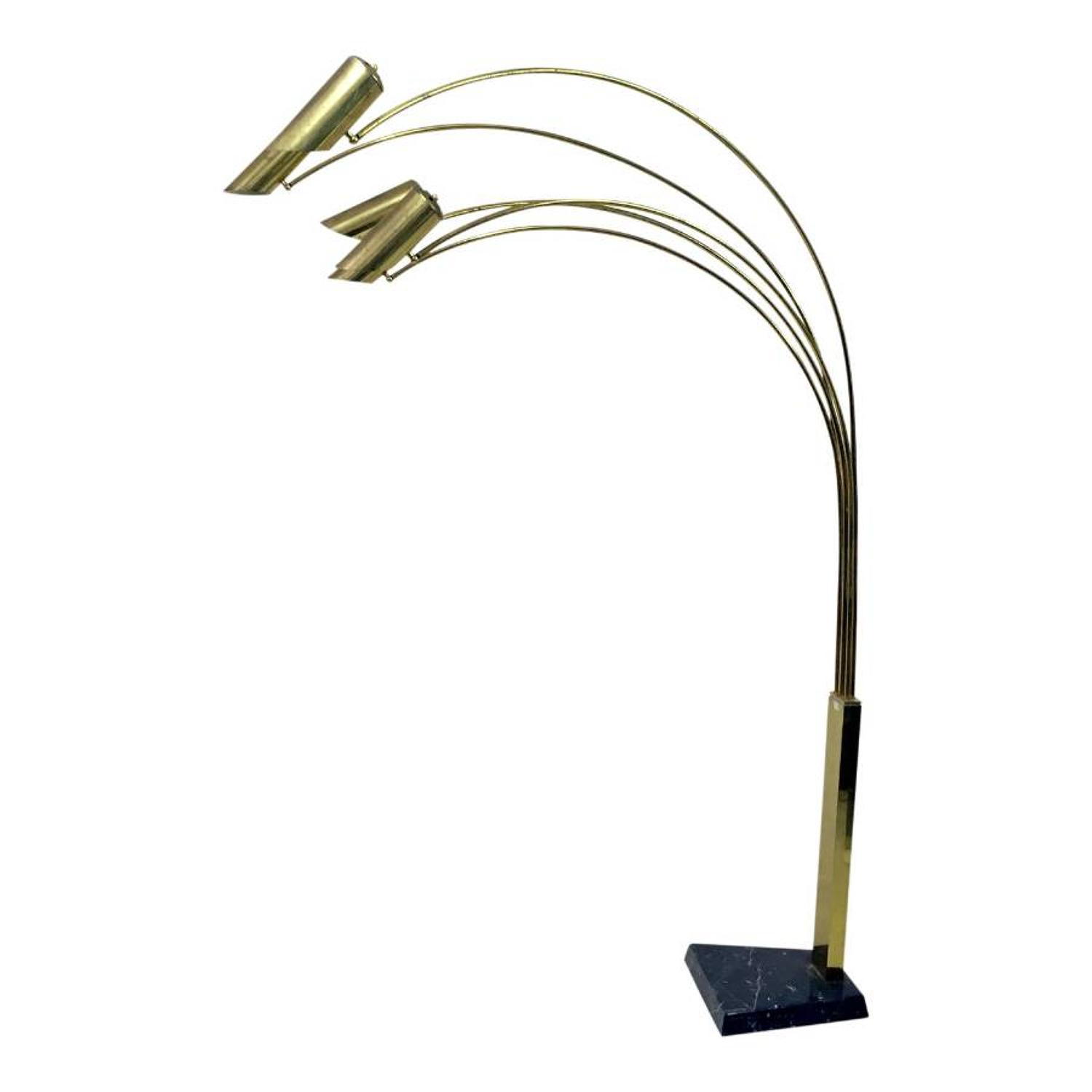 Italian brass and marble arc lamp