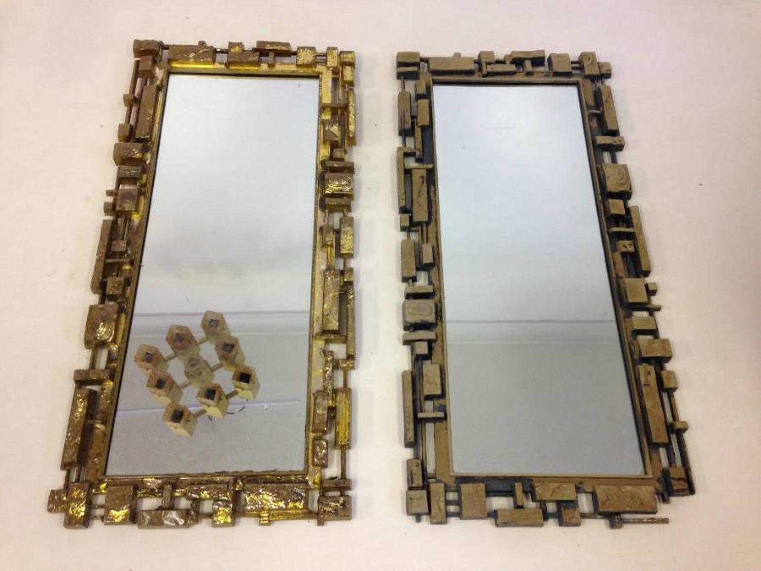 A pair of American Brutalist mirrors