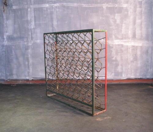 Industrial iron wine rack