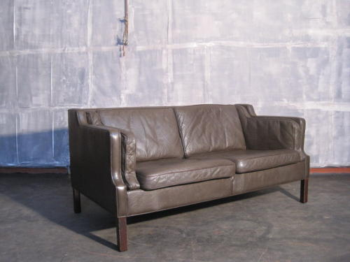 Danish leather two seater sofa