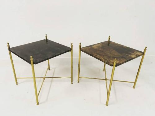 A pair of lacquered goatskin tables by Aldo Tura