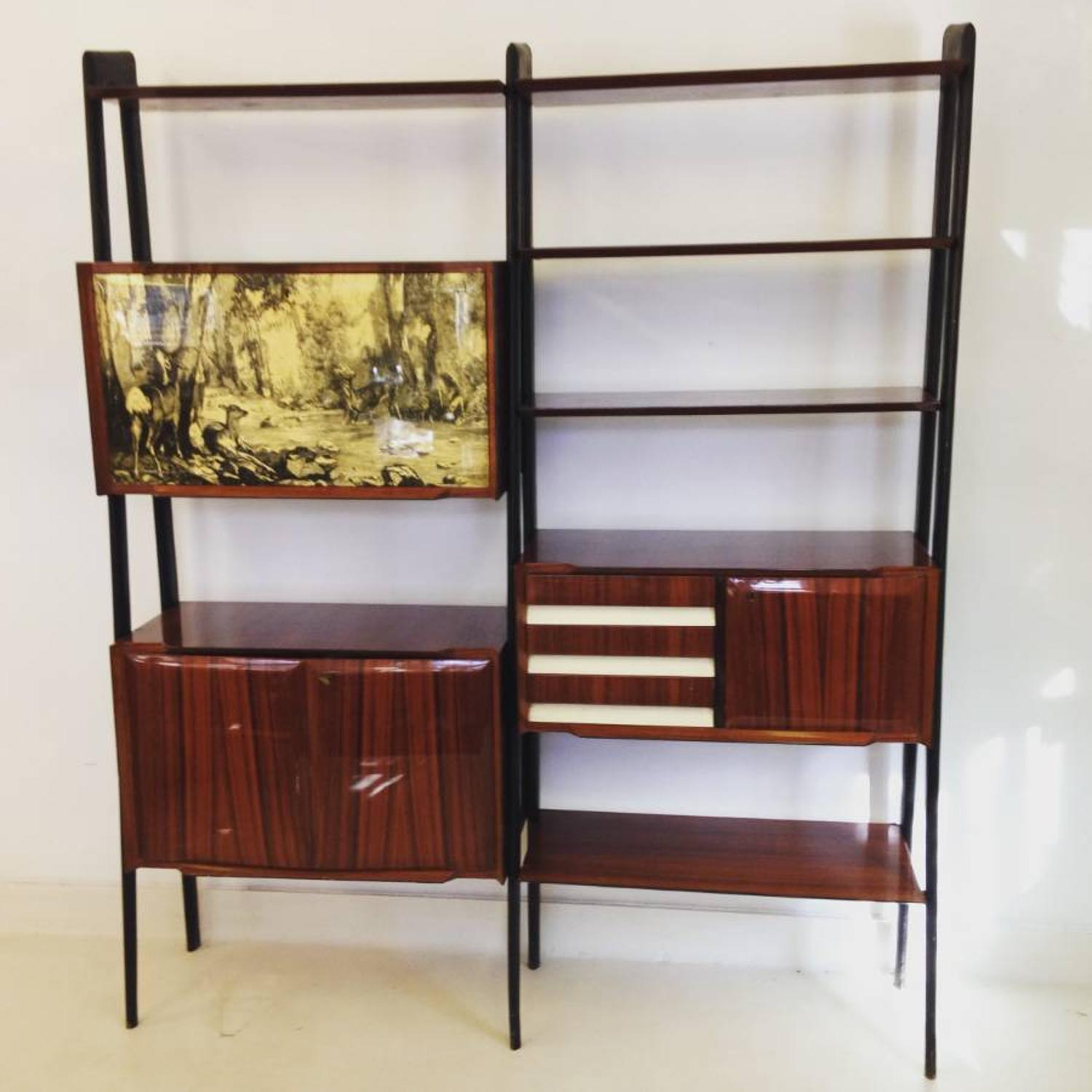 Rosewood bookcase and wall unit