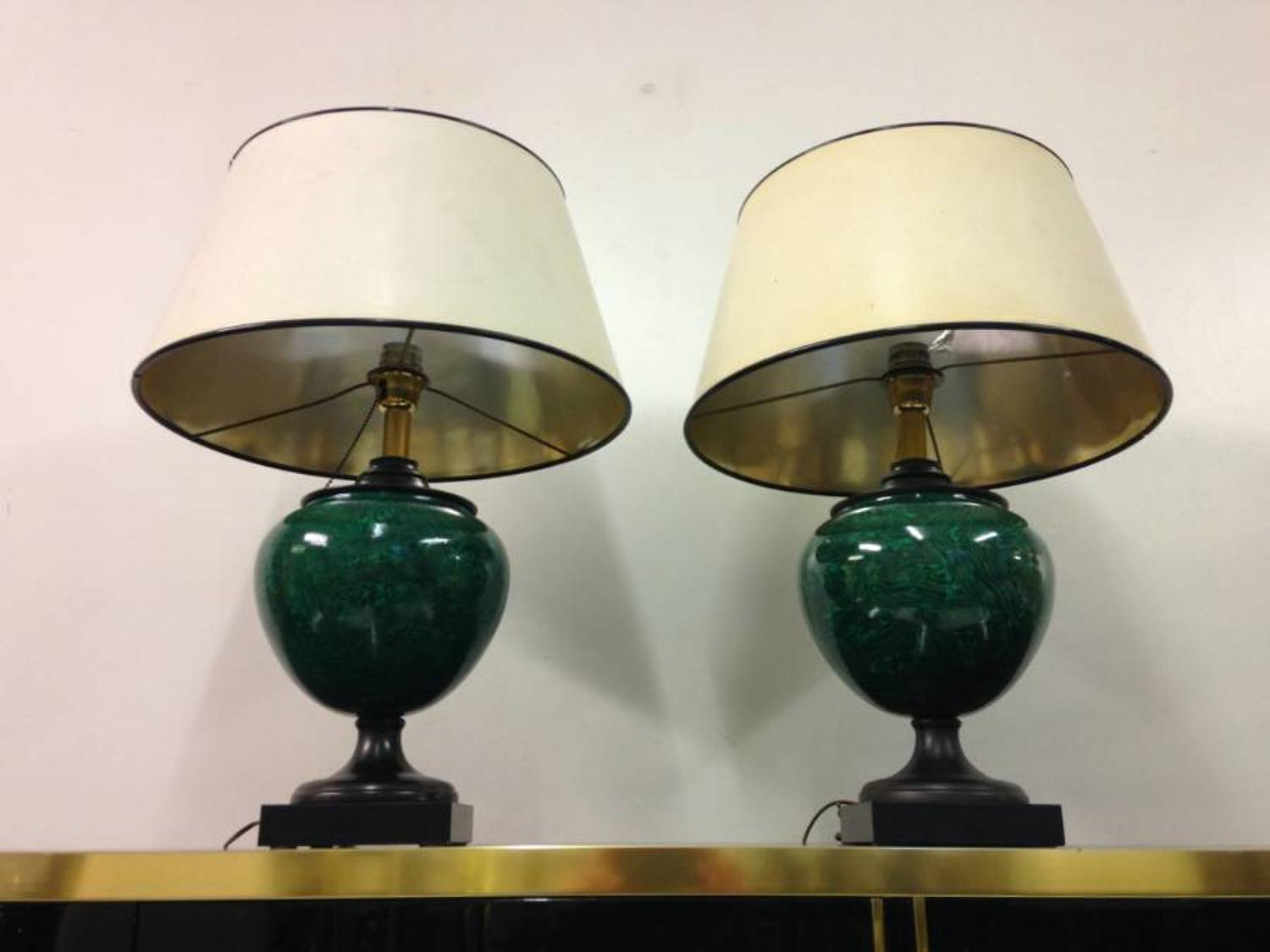 A pair of faux malachite lamps by Mangani