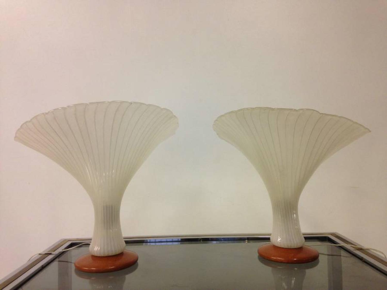 A pair of Murano zanfirico filigree lamps