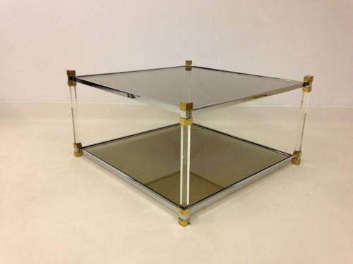 Lucite, chrome and brass coffee table