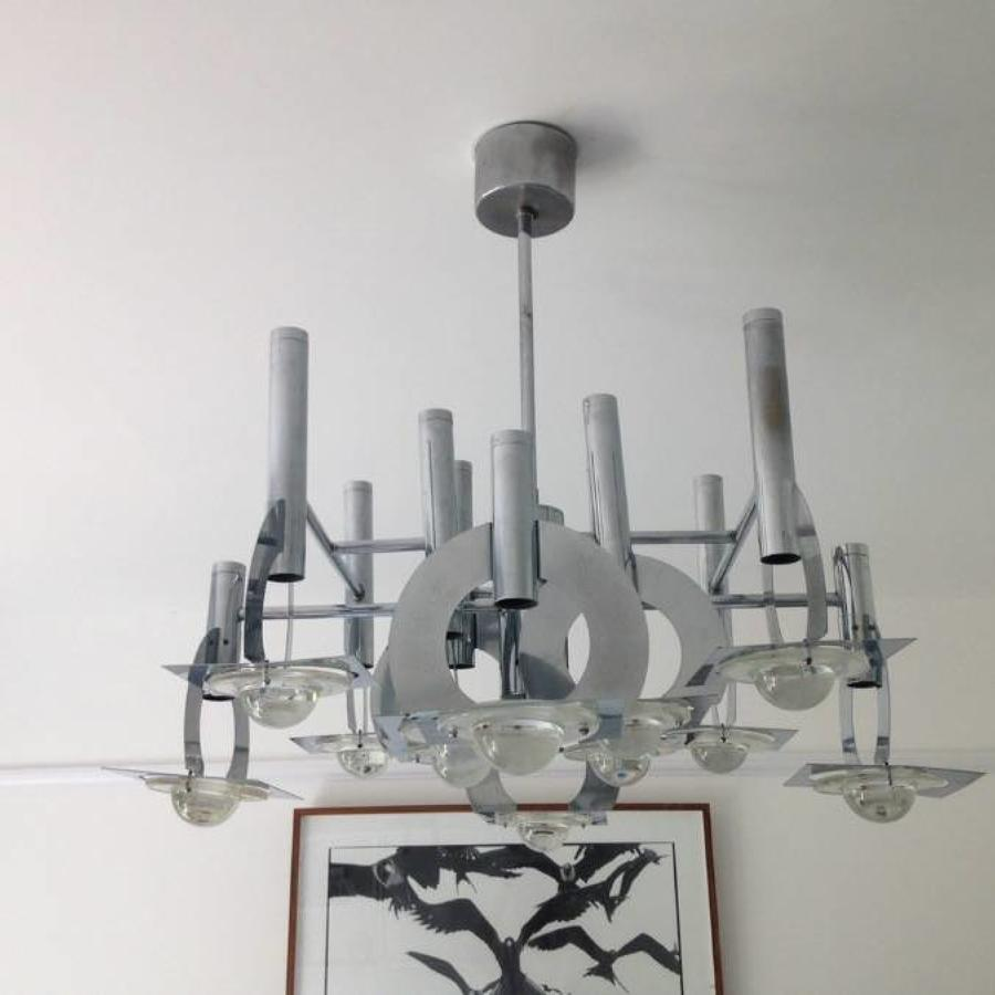 Italian chrome and convex glass chandelier