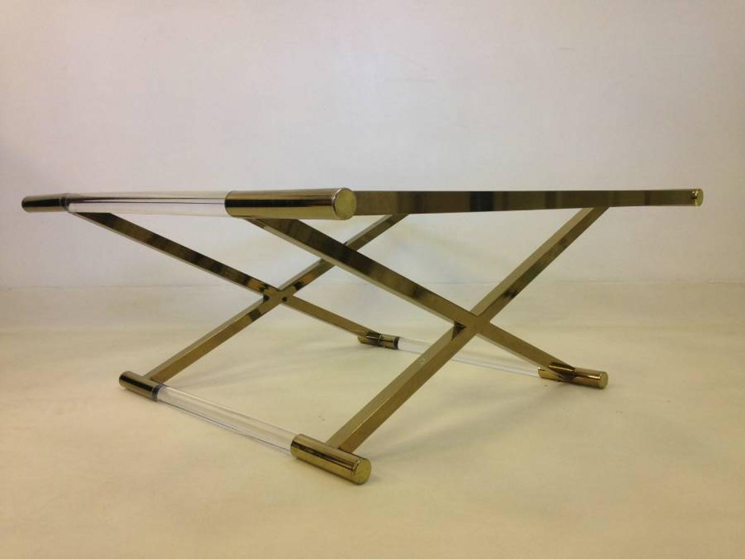 Gold lacquered brass and lucite coffee table