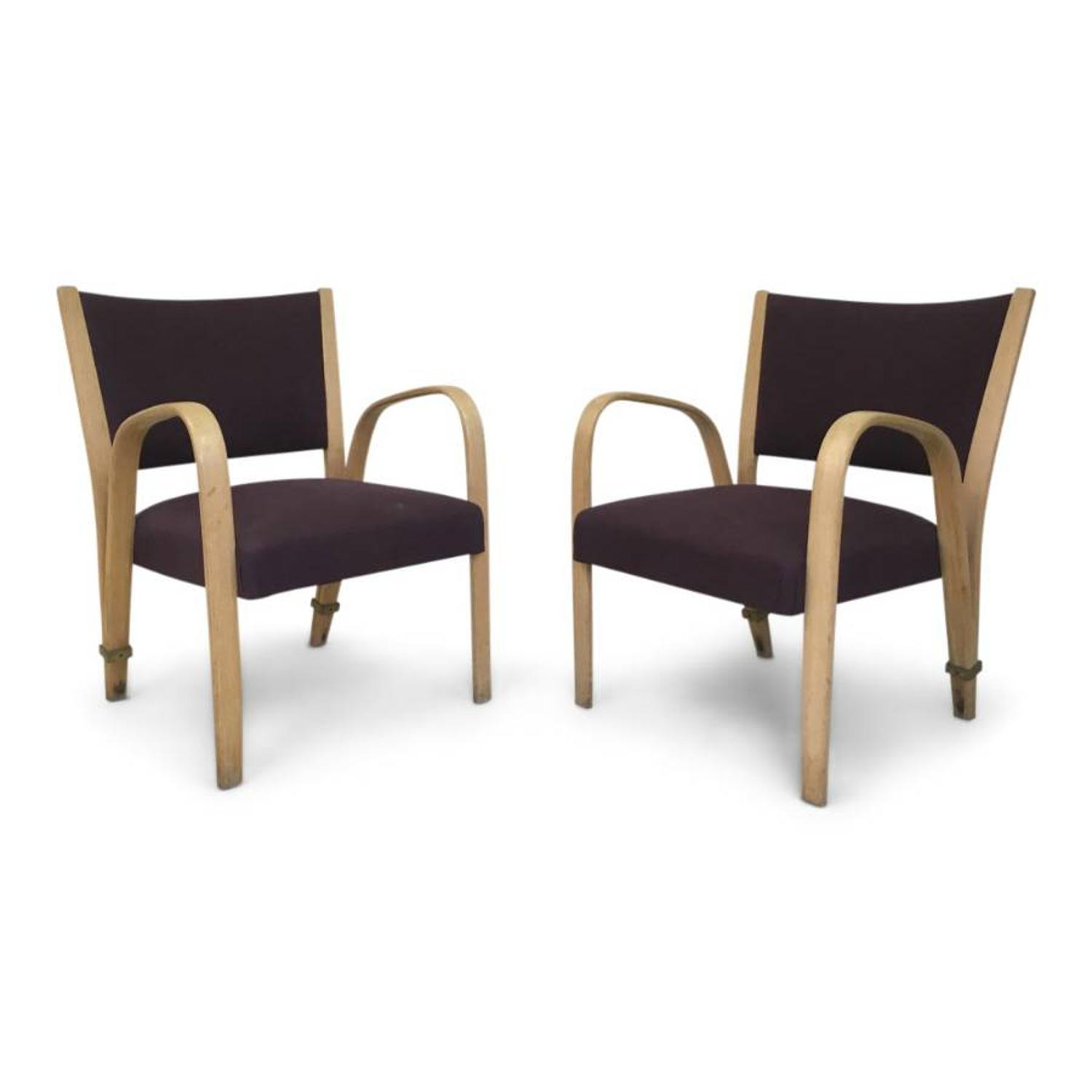 A pair of 1950s Italian bentwood armchairs