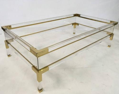 Lucite and brass sliding coffee table