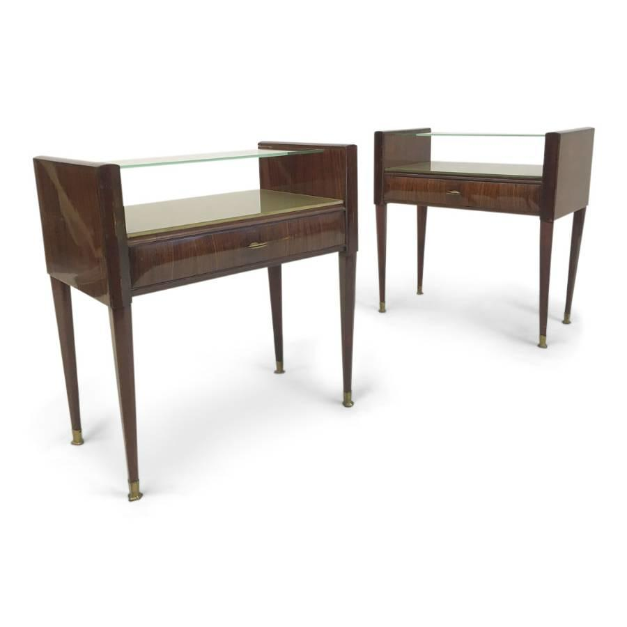A pair of 1950s Italian rosewood bedside tables