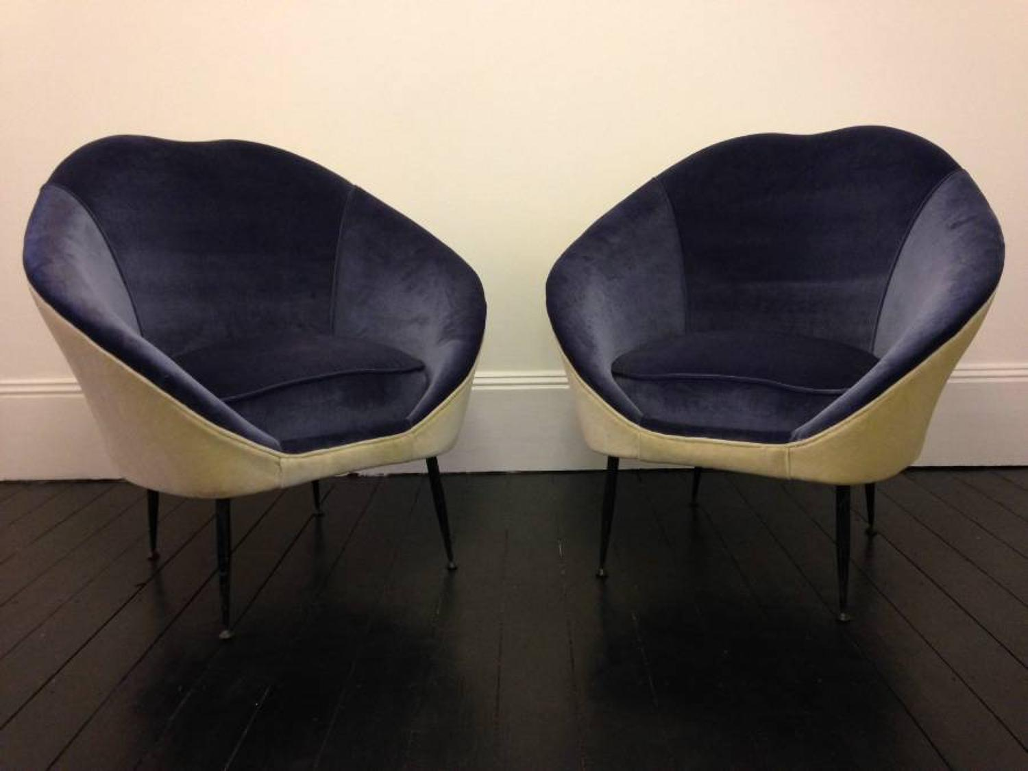 A pair of 1950s Italian armchairs
