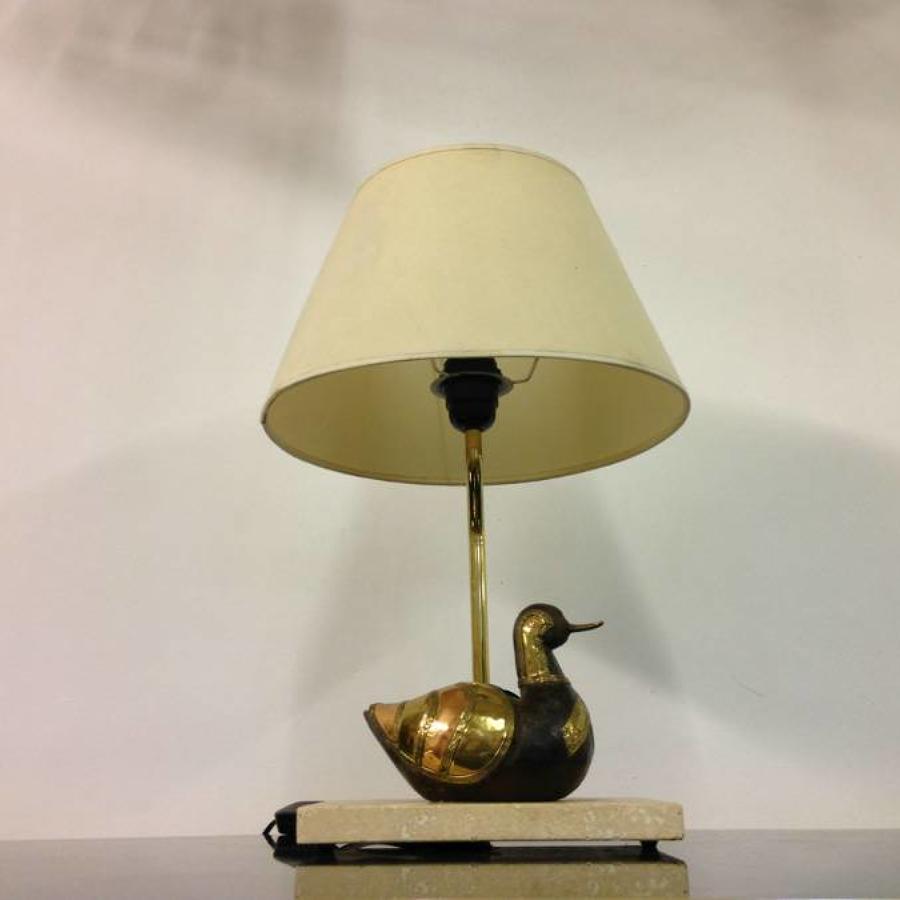 1970s brass duck lamp