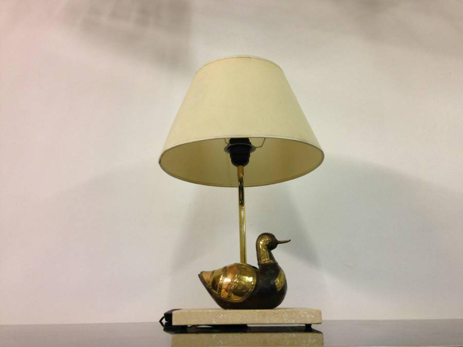1970s brass duck lamp