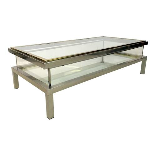 French sliding vitrine coffee table