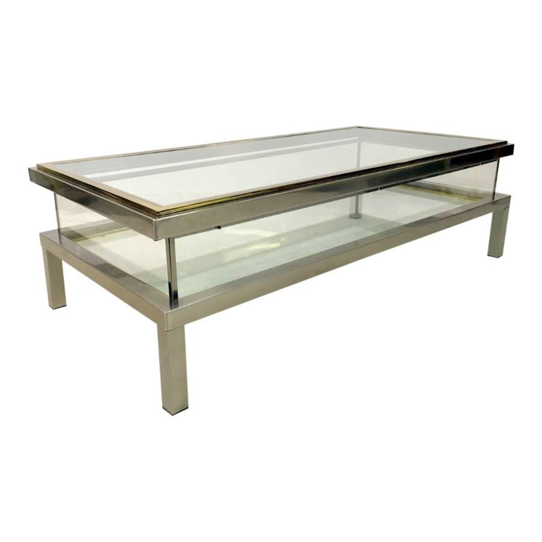 French sliding vitrine coffee table